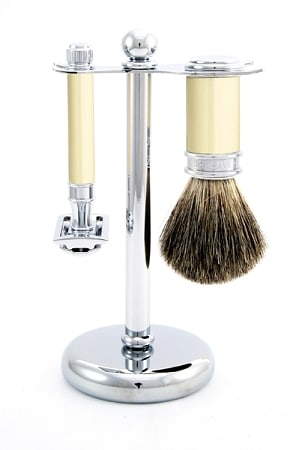 edwin jagger 3-piece de shaving set ivory chrome christmas gift