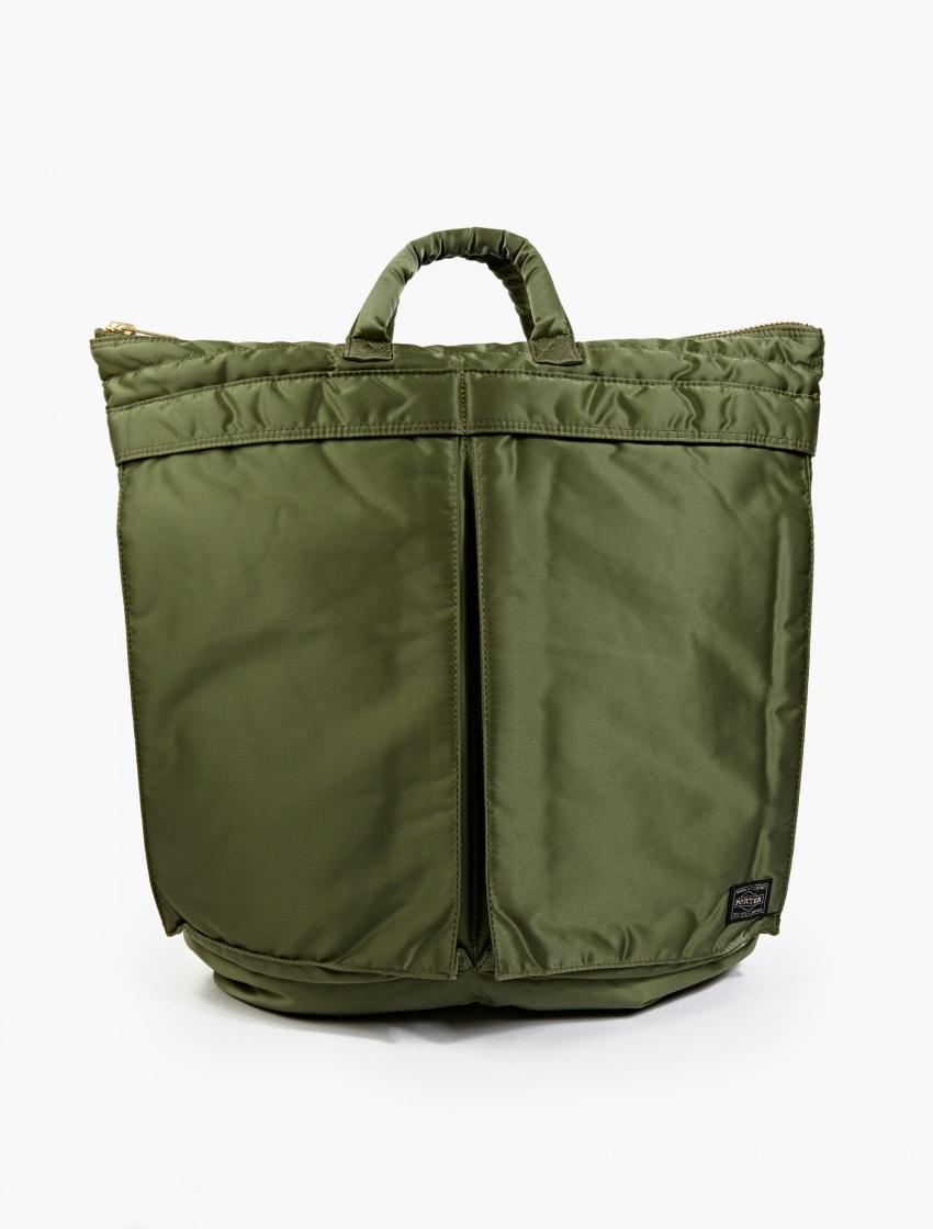 The Porter-Yoshida & Co Olive Tanker Helmet Bag front