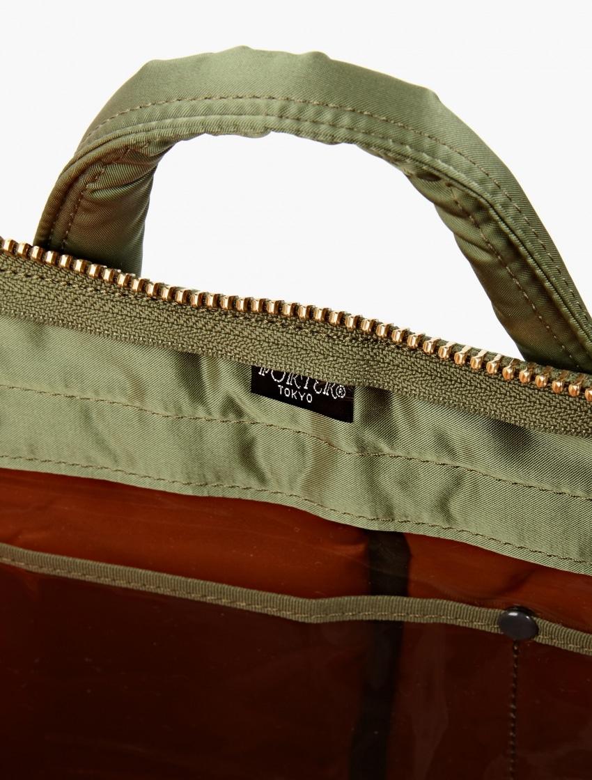 The Porter-Yoshida & Co Olive Tanker Helmet Bag inside