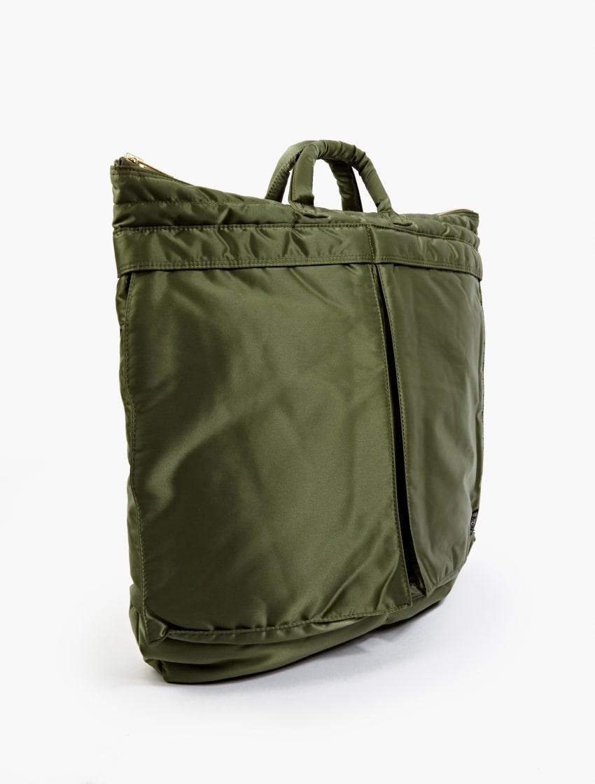 The Porter-Yoshida & Co Olive Tanker Helmet Bag side
